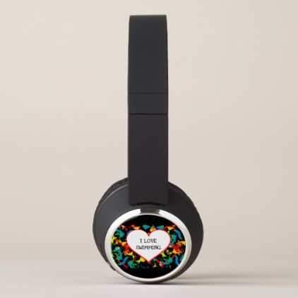 I Love Swimming Sports Editable Modern Abstract Headphones - modern gifts cyo gift ideas personalize