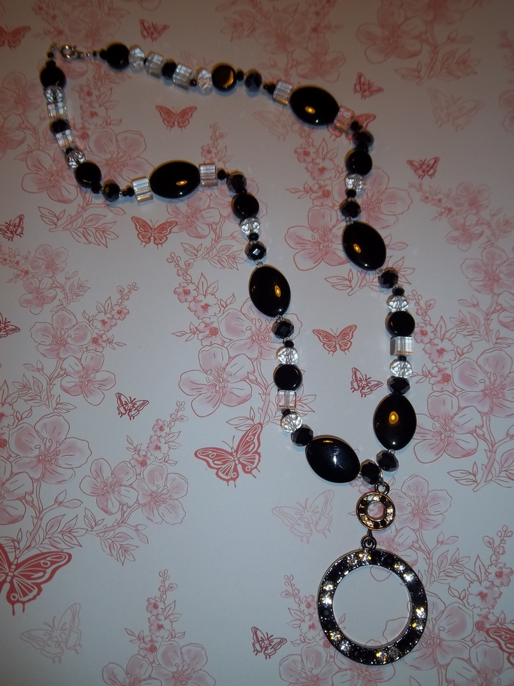 Stunning black and white crystal necklace