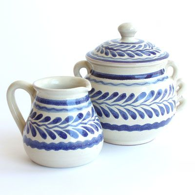 Blue Leaf Creamer and Sugar Bowl by Gorky Gonzalez. $28 & $32. A great way to add some blue and white rustic style to your tea or coffee. #Mexican_ceramics #Mexico #handmade #ceramics #pottery