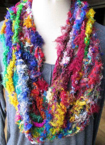 Handmade crochet cowl scarf - bright multicolor recycled sari silk yarn