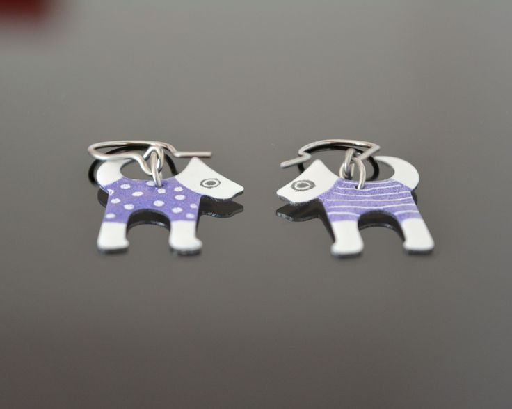 Animal earrings - dogs, mixed technique on stainless steel base by CinkyLinky