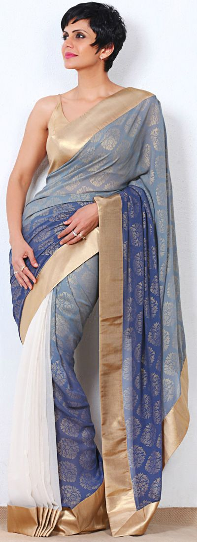 #Grey Shimmer #Pure #Georgette #Saree by #Mandira Bedi at Indianroots.com #Shop #India