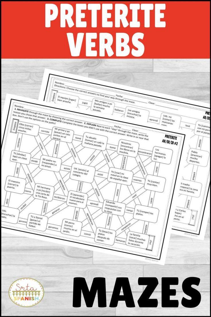 Spanish Preterite Regular Ar Er Ir Verbs Maze Practice Activity With Digital High School Spanish Spanish Lesson Plans High School Spanish Classroom [ 1104 x 736 Pixel ]