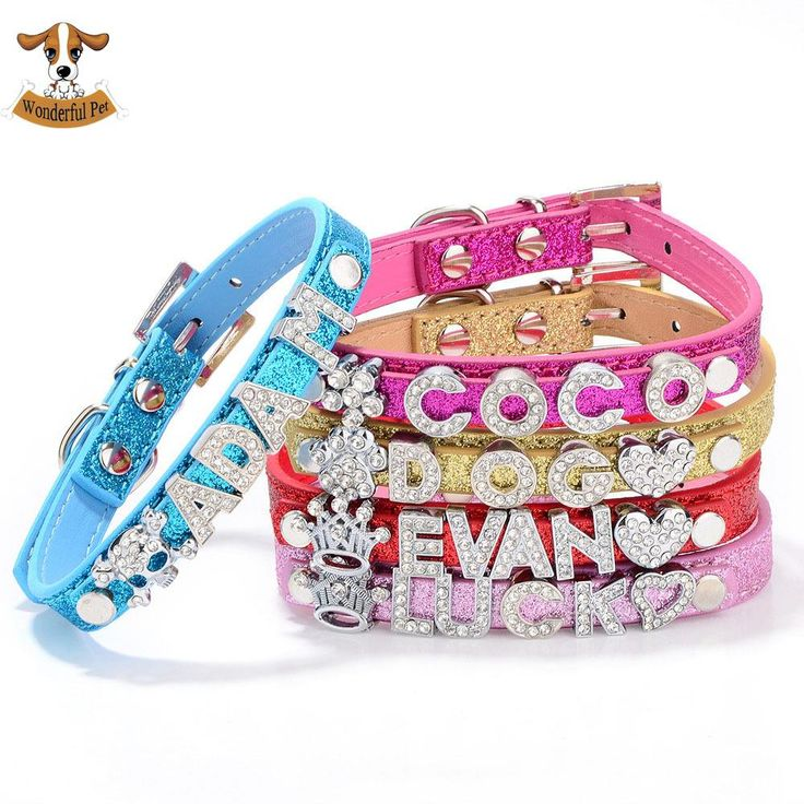 DIY Name Dog Collars Bling Personalized Pet Dog Collar with Buckle Puppy Cat Necklace with 10MM Rhinestone Letters & Charms