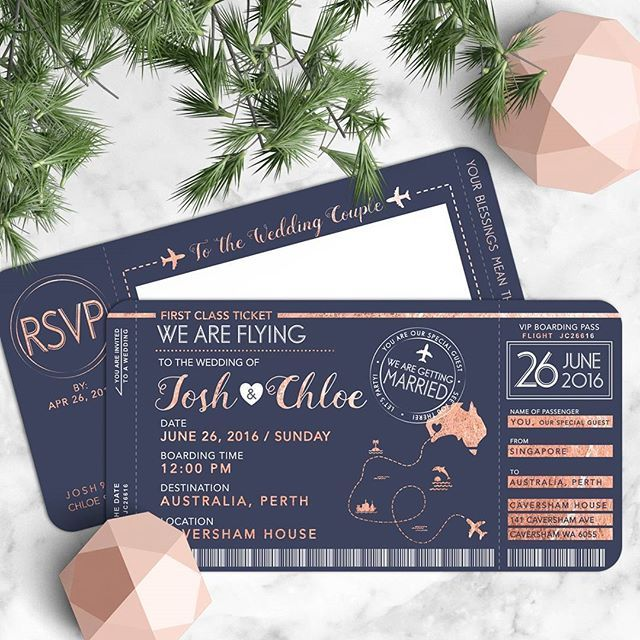 For those who are planning for a destination wedding, this one wedding invitation design from @thecatcarousel could be the one for you! We have a major crush on this boarding pass invitation in such a chic shade that surely sets a playful yet sweet mood! What do you think about this? Leave us some comments and tag your friends to share the inspiration!