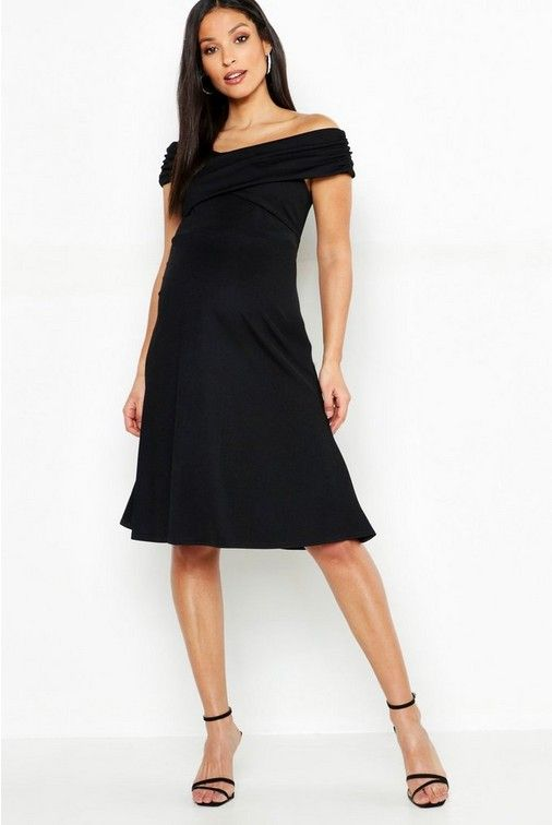 0e81746b2d4 Click here to find out about the Maternity Bardot Twist Front Skater Dress  from Boohoo