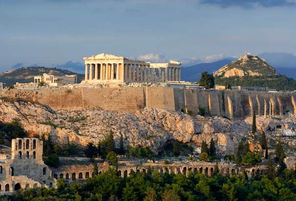 Acroplis in Athens: Rising 500 feet above sea level, the Acropolis in Athens showcases some of the finest examples of Greek architecture