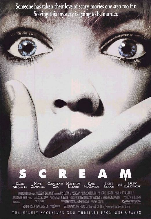 Scream (1996)Movie Posters, The Scream, Scream 1996, Scream Movie, Movie Night, Movie Trailers, Favorite Movie, Horror Film, Horror Movie