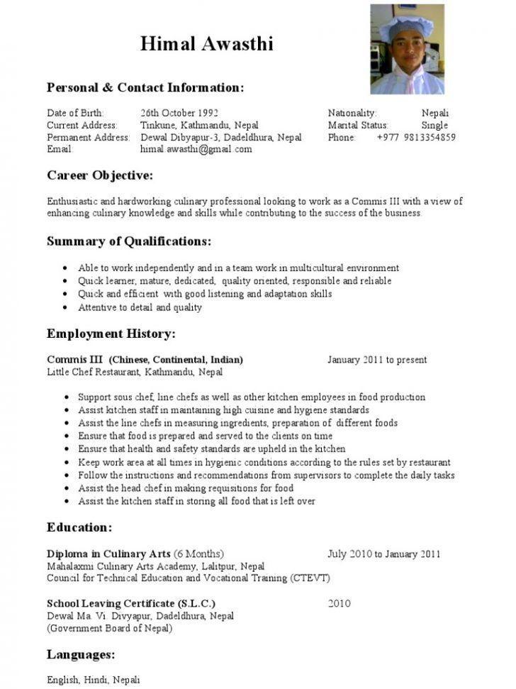 Commis 3 Resume Examples Resumeexamples Good Resume Examples Chef Resume Professional Resume Examples