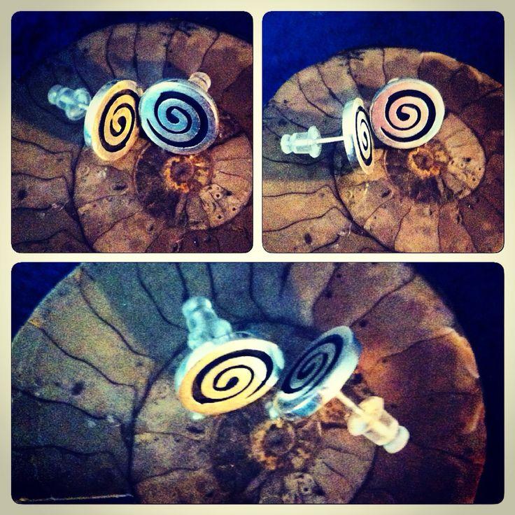 Aros de plata 950 diseño espiral #hechura #hechoamano www.hechura.cl