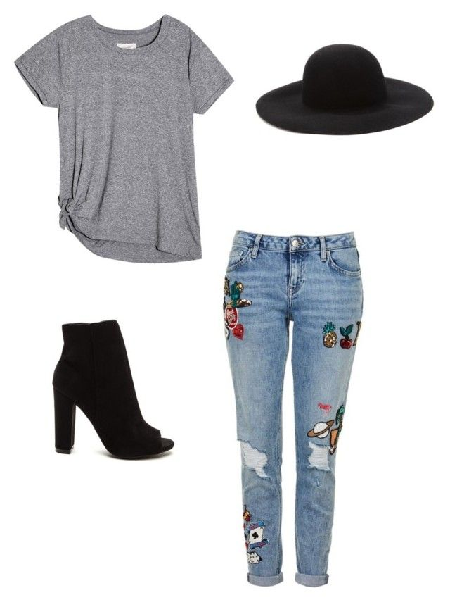 """#simply#casual#jeans#hat#t-shirt"" by carla-ana-maria on Polyvore featuring Topshop and Forever 21"
