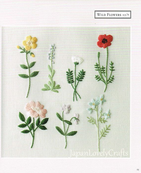 Plants & Flower Embroidery Patterns, Natural Zakka Style Motifs, Japanese Craft Book, Hand Embroidery Floral, Forest, Bird Design, B1874 - Japanese Embroidery Patterns