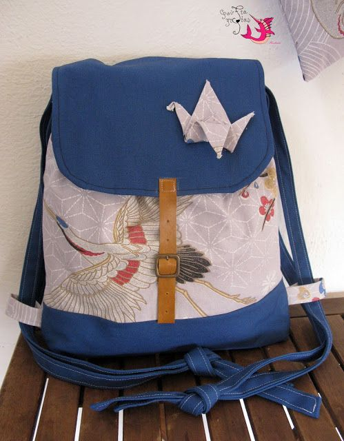 "Handmade fabric backpack ""origami crane""  #handmade #backpack #bag #crane #japanese #unique #fabric"