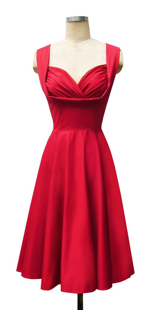 Honey Dress | Red Stretch Cotton | 50's Style Sweetheart Dress |