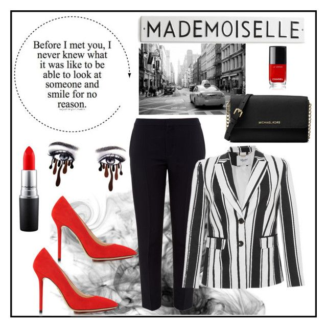 """A touch of red"" by siggan22 on Polyvore featuring Charlotte Olympia, Chloé, MAC Cosmetics, Blugirl and Michael Kors"