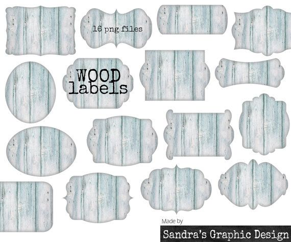 Wood labels clipart, with 16 light blue labels in different shapes with wood texture, clipart 300 dpi PNG  files (863)