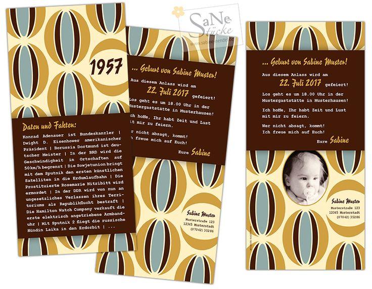 Retro Einladungskarte zum Geburtststag für alle, die 1957 geboren sind