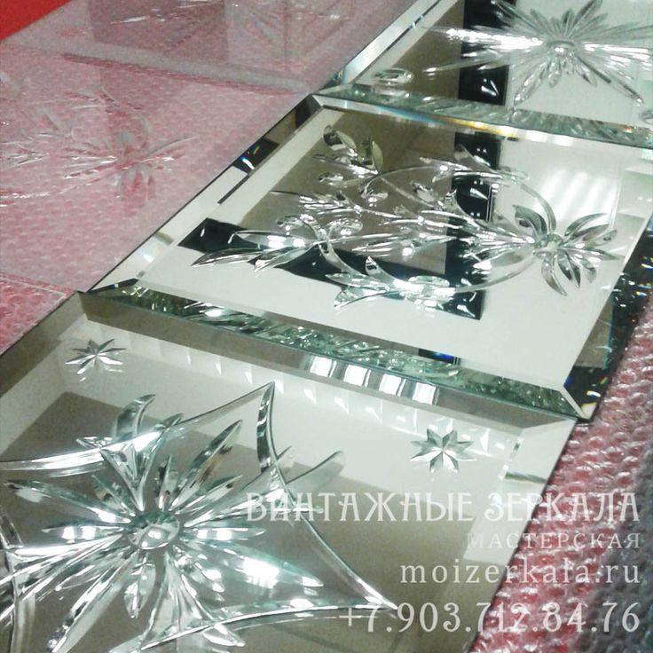 Зеркальные образцы алмазной грани, техника reverse brilliant cut