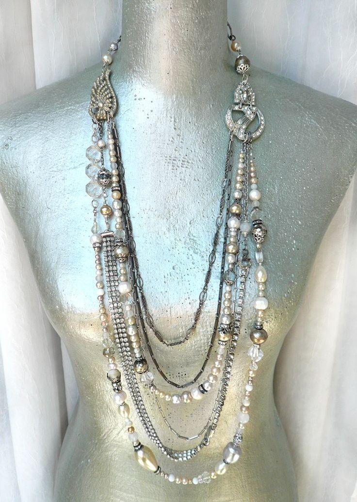 Etsy Transaction - Coco....Vintage Art Deco Pearl Rhinestone Statement Necklace