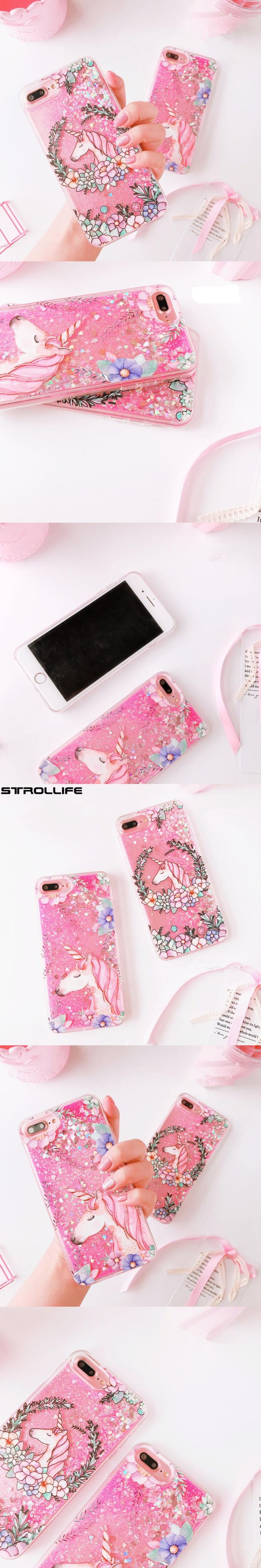 Cute Cartoon Unicorn Flowers Dynamic Liquid Quicksand Pink Sequins Glitter Phone Case For iPhone 6 6s 7Plus Crystal Cover Fundas