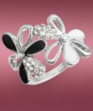 Két virágos gyűrű, fehér kristályokkal, ezüstszínű fémből, 19 mm