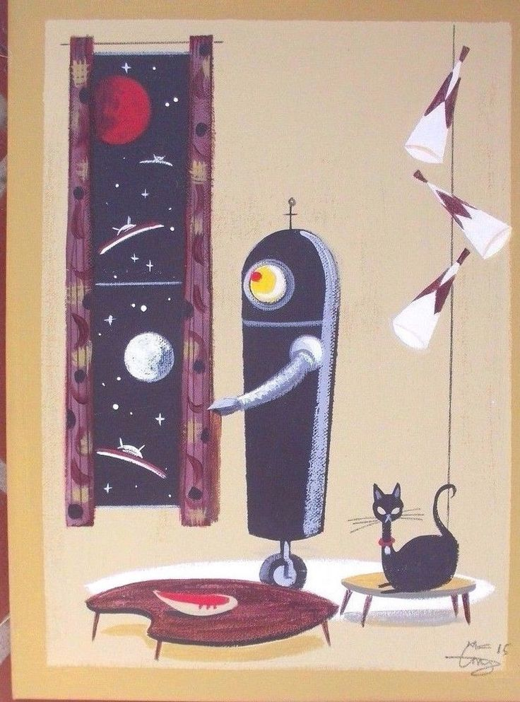 EL GATO GOMEZ PAINTING RETRO MID CENTURY MODERN SCI-FI SPACE ROBOT MARTIAN UFO #Modernism