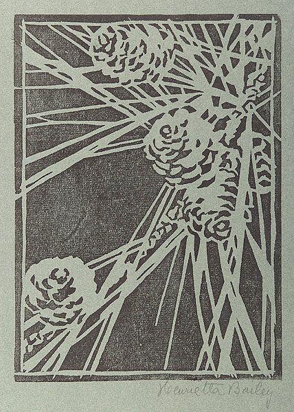 "Newcomb College - Henrietta Davidson Bailey (1874-1950) - Pine Cones. Woodblock Print. New Orlenas, Louisiana. Circa 1901-1939. 11"" x 8""."