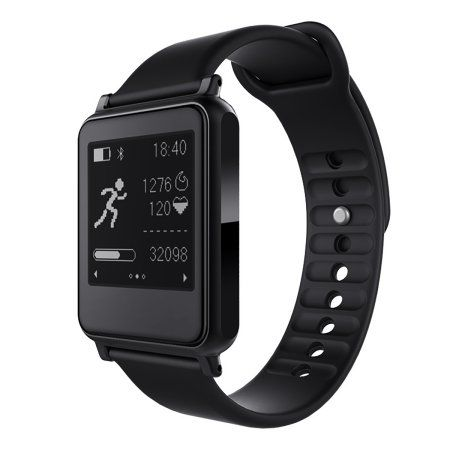 TechComm i7 Smartwatch with Bluetooth, E-Ink Screen, Heart Rate Monitor, Activity-specific Fitness Tracker, Sleep Monitor, Pedometer and Sedentary Reminder - Black