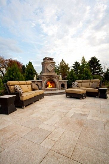 Umbriano paver patio with fireplace by Unilock - Photos