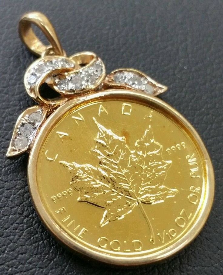 Beautiful 1989 5.00 Dollar 1/10 Pure Gold Canadian Maple Leaf Diamond Pendant by VincentsFineJewelry on Etsy