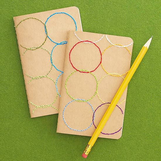 DIY Circle-Stitched Notebook -How much fun! This would make a great hostess gift. Check out the other gift ideas.