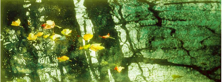 """fall pond reflection 18"""" x 40"""". micheal zarowsky watercolour on arches paper - private collection"""