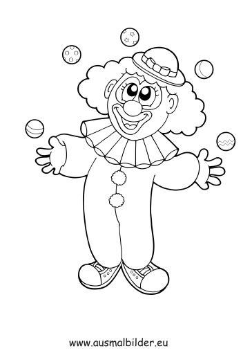 ausmalbild jonglierender clown zum kostenlosen ausdrucken