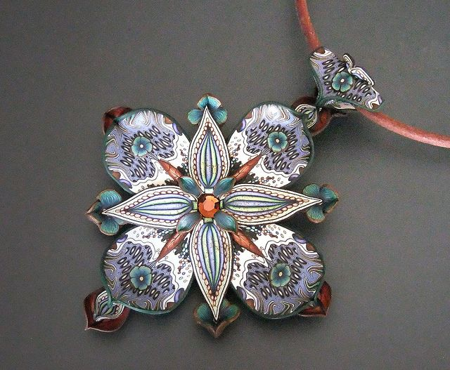 Dimensional Pendant in Blues and Browns by Jana Roberts Benzon, via Flickr
