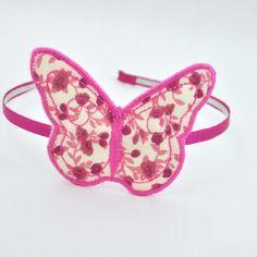 Serre-tête romantique, papillon, tissu liberty vieux rose et fuchsia
