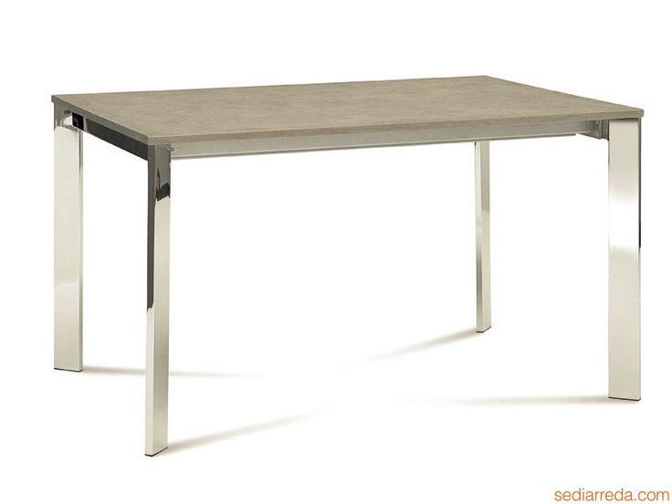 Table Domitalia, 130x90 cm, plateau en verre, bois ou céramique à rallonge (Universe-130 METALLO) | Sediarreda