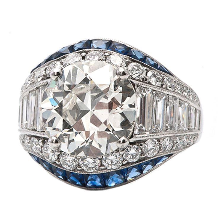 8.75 Art Deco Diamond Sapphire Engagement Ring