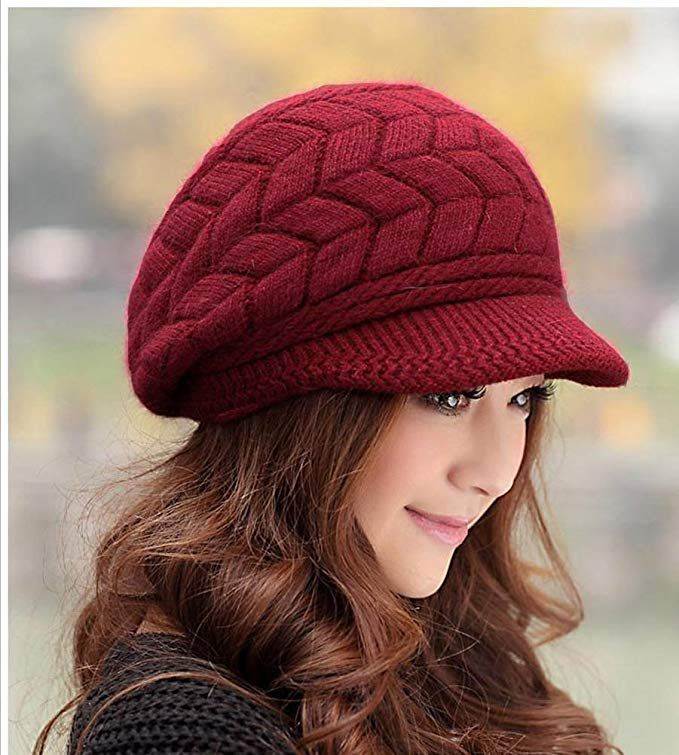 8d65a588ff3  10.99 HindaWi Women Winter Warm Knit Hat Wool Snow Caps With Visor ...