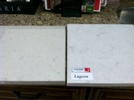 Silestone lagoon and caesarstone misty carrara comparison for Carrara marble slab remnants