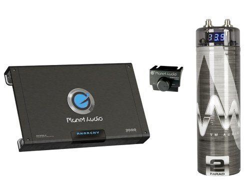 PLANET AUDIO AC2000.2 2000W 2 Channel Car Amplifier + Remote + 2 Farad Capacitor