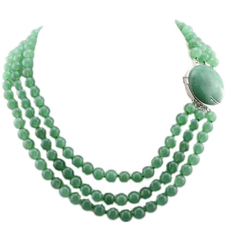Wiipu 3 Rows 8mm Green Jade Necklace Bridesmaid Jade Necklace(gs532):