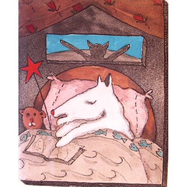 "Peter Barger - Dog Nap  hand colored etching #46/90    image size 4.75"" x 3.75""    paper size 9.25"" x 7.25"""