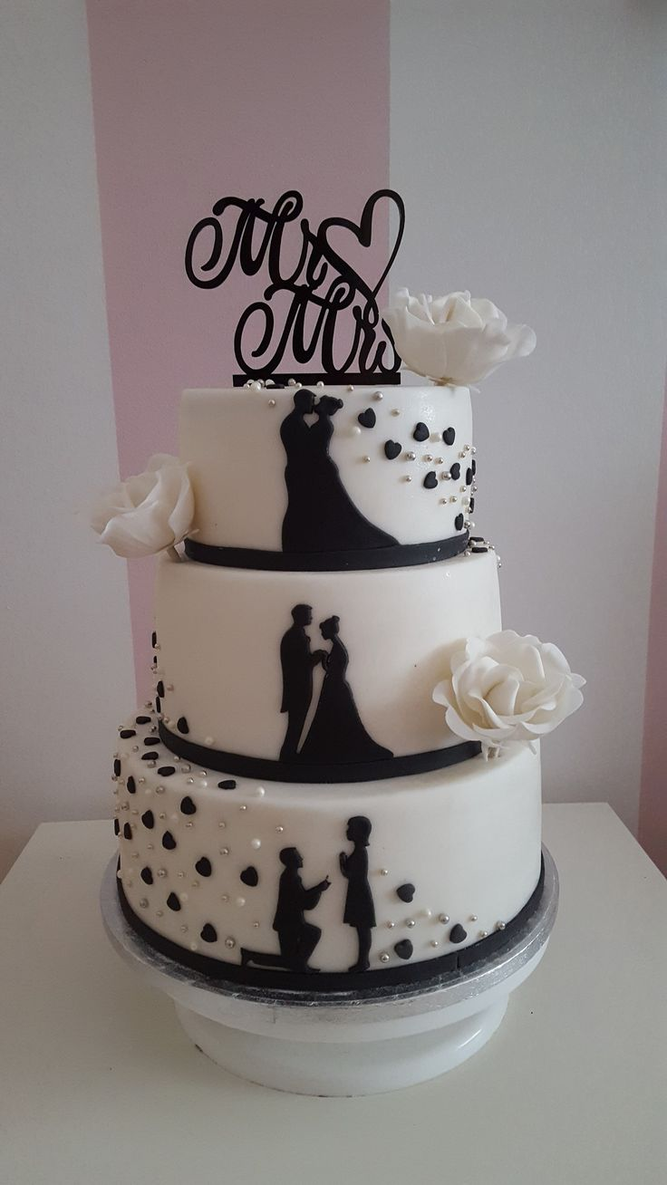 Wedding silhouette cake