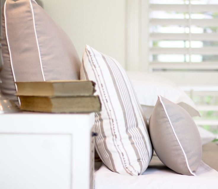 Ancona Walled Cushions and Decorative Cushions. These are our Taupe versions but you can create your own combinations. http://shop.lamiabellacasa.com.au/ancona-cushion