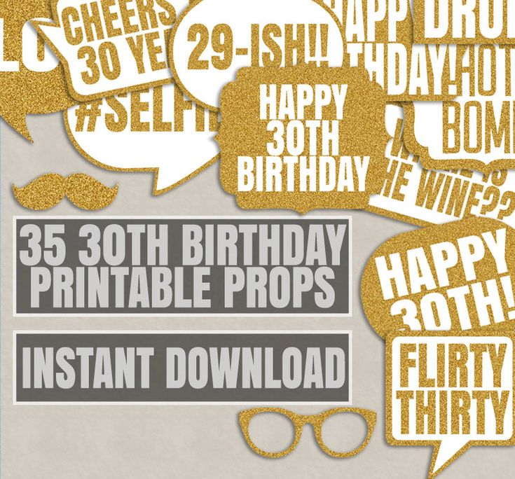 35 30th Birthday Party Props, Thirty photo booth printable props, thirtieth party, gold glitter, birthday photobooth props, birthday party by YouGrewPrintables on Etsy