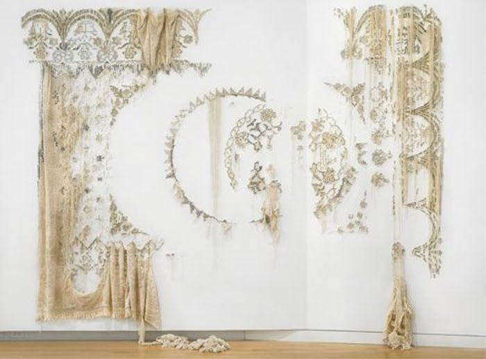 TRILBY FAVE Love the idea of exploring gold embroidery as a large scale wall installation. Textile looks as if it is decaying from wall installation by elana herzog.