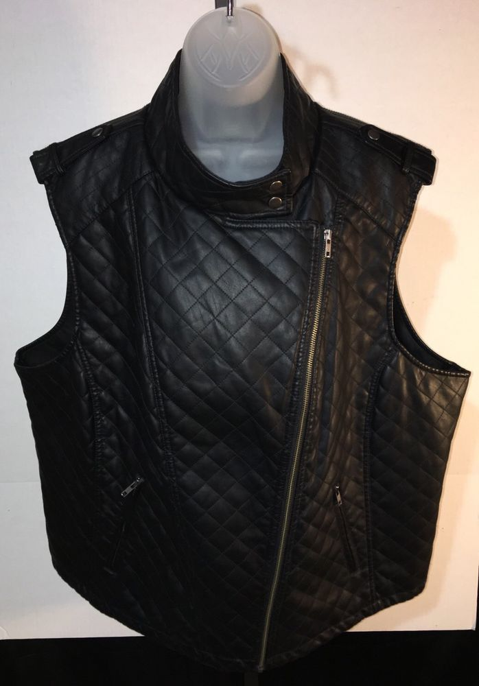 APT 9 Womens Black Faux Leather Vest Quilted Biker Motorcycle Zip Up Plus 3X  #Apt9 #Quilted