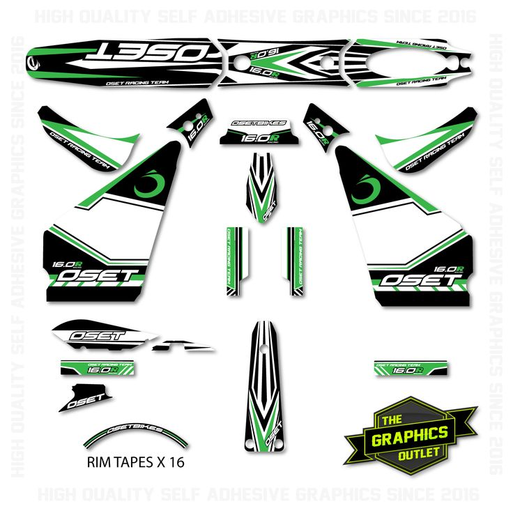 OSET BIKES - 2015 - 16.0 RACING NEW STYLE BIKE - OEM STYLE REPLICA FULL TRIALS GRAPHICS KIT - GREEN ACCENTS