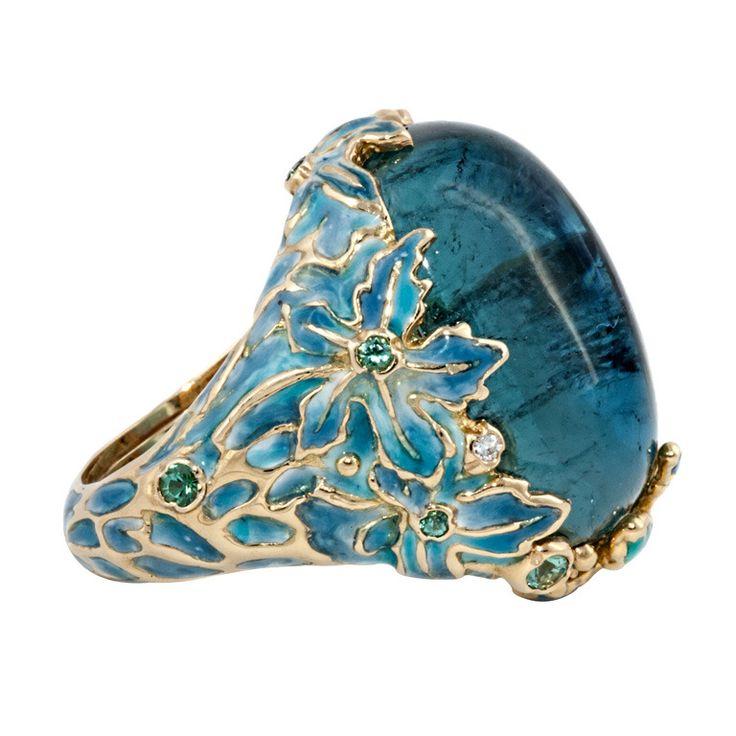 Vintage Enamel Cabochon Tourmaline Diamond Gold Ring