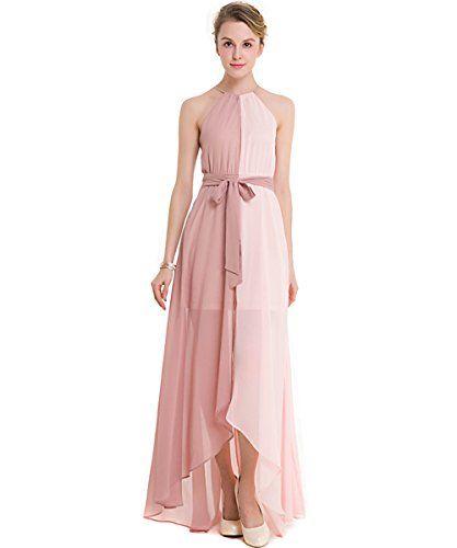 d4a993c8a12 KAXIDY Elegante Femme Robes été Robe de Soirée Robe Longue Ceremonie Robe  de Plage (Rose